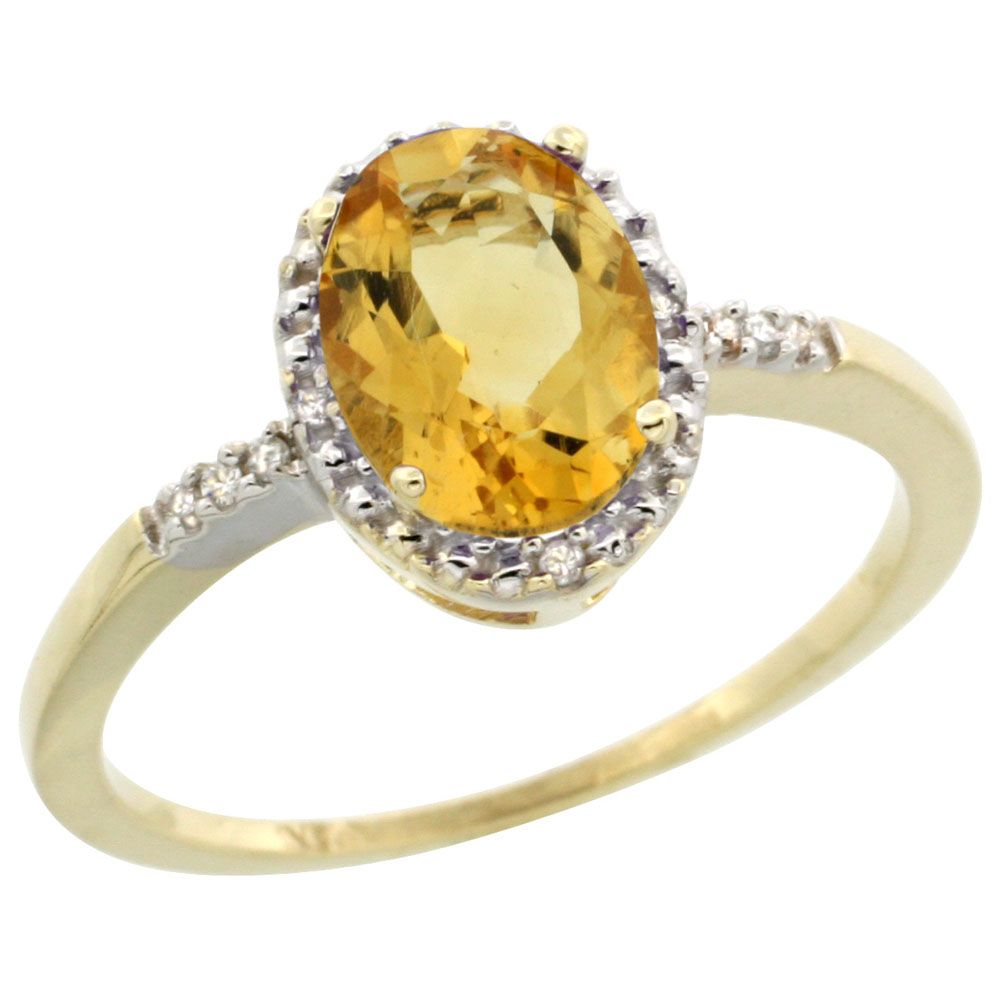 14K Yellow Gold Diamond Natural Citrine Ring Oval 8x6mm, sizes 5-10