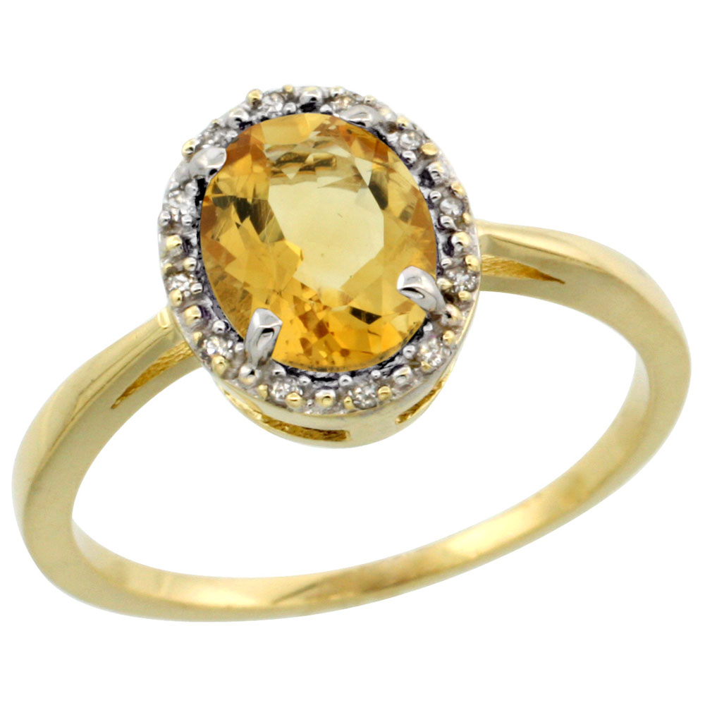 14K Yellow Gold Natural Citrine Ring Oval 8x6 mm Diamond Halo, sizes 5-10