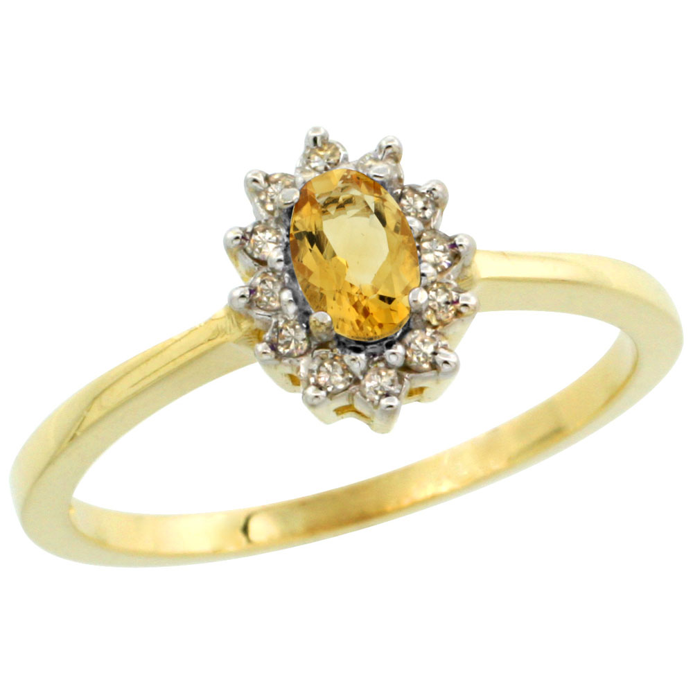 14K Yellow Gold Natural Citrine Ring Oval 5x3mm Diamond Halo, sizes 5-10
