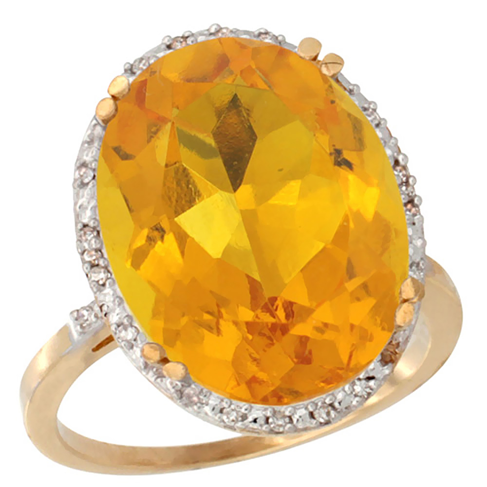10k Yellow Gold Natural Citrine Ring Large Oval 18x13mm Diamond Halo, sizes 5-10