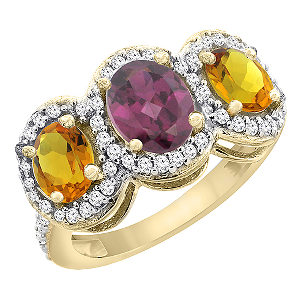14K Yellow Gold Natural Rhodolite & Citrine 3-Stone Ring Oval Diamond Accent, sizes 5 - 10