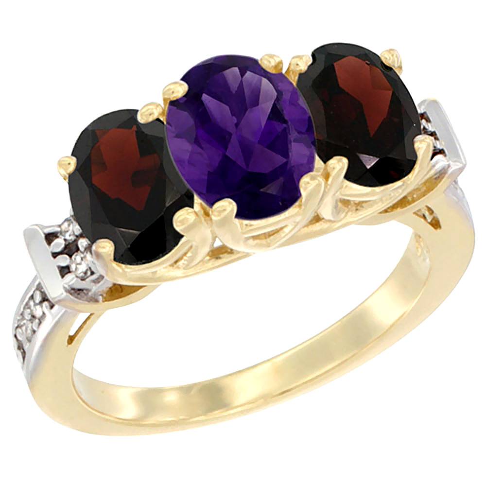 10K Yellow Gold Natural Amethyst & Garnet Sides Ring 3-Stone Oval Diamond Accent, sizes 5 - 10