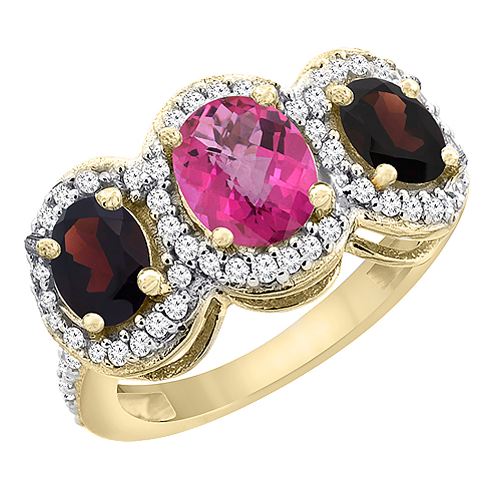 10K Yellow Gold Natural Pink Topaz & Garnet 3-Stone Ring Oval Diamond Accent, sizes 5 - 10