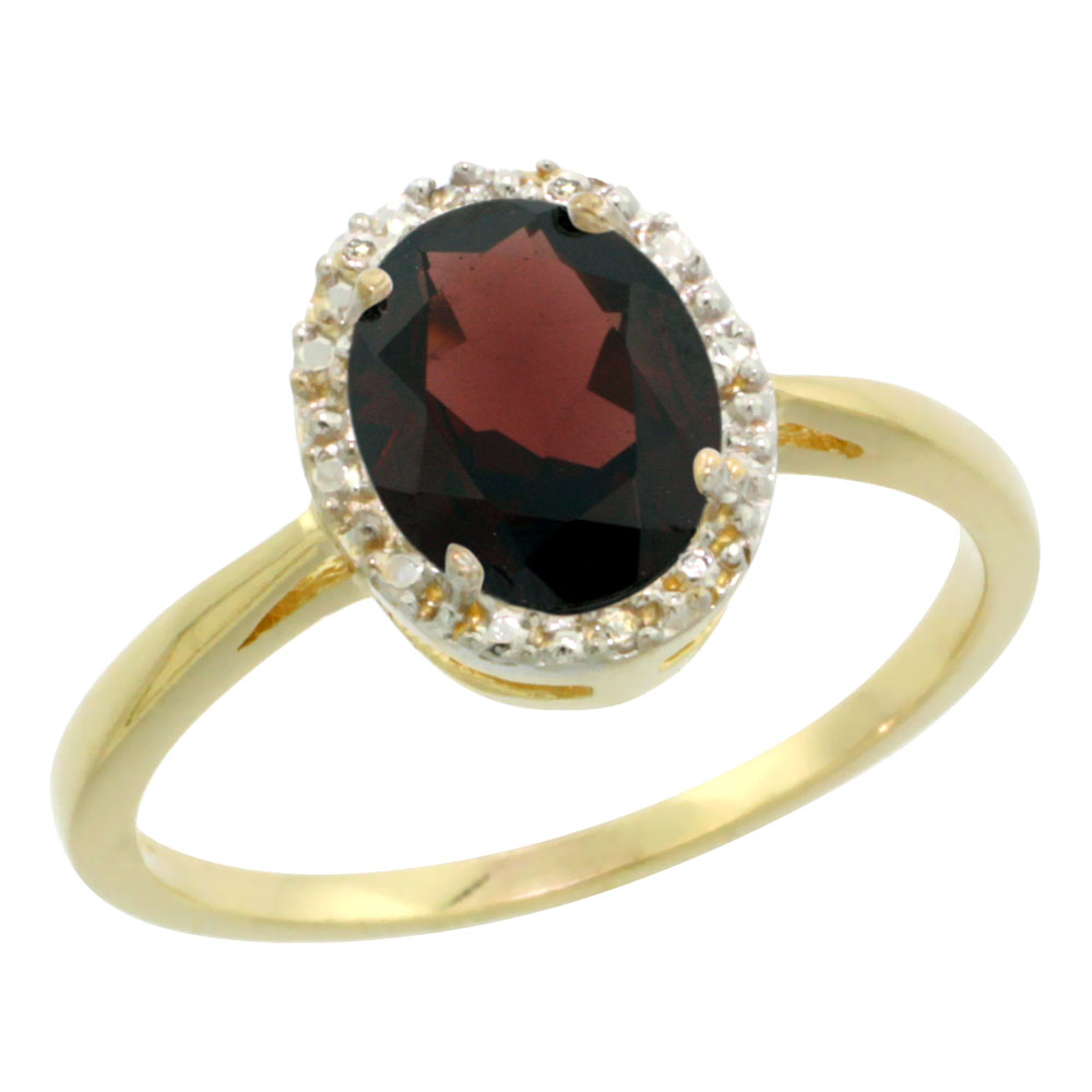 10K Yellow Gold Natural Garnet Diamond Halo Ring Oval 8X6mm, sizes 5-10