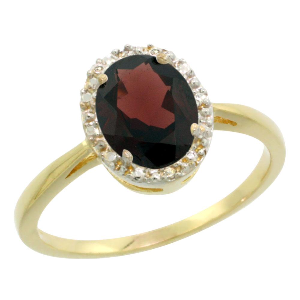 14K Yellow Gold Natural Garnet Diamond Halo Ring Oval 8X6mm, sizes 5-10