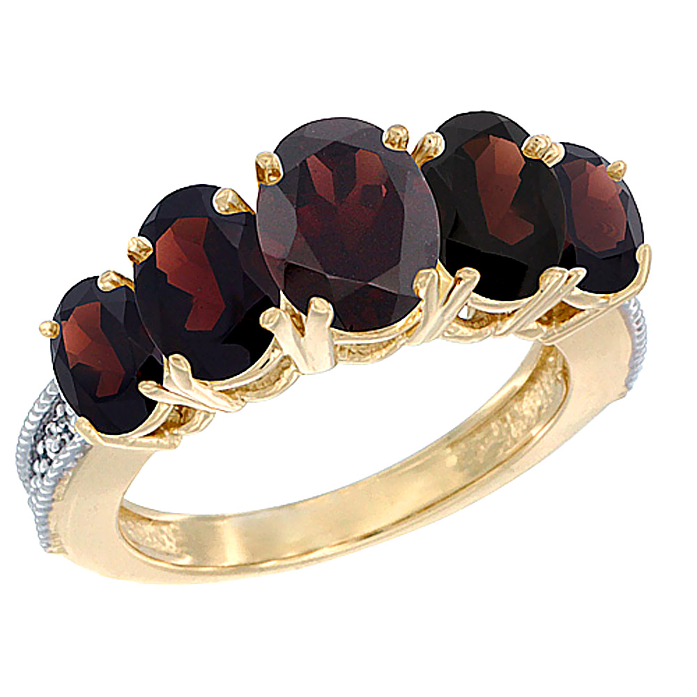 10K Yellow Gold Diamond Natural Garnet Ring 5-stone Oval 8x6 Ctr,7x5,6x4 sides, sizes 5 - 10