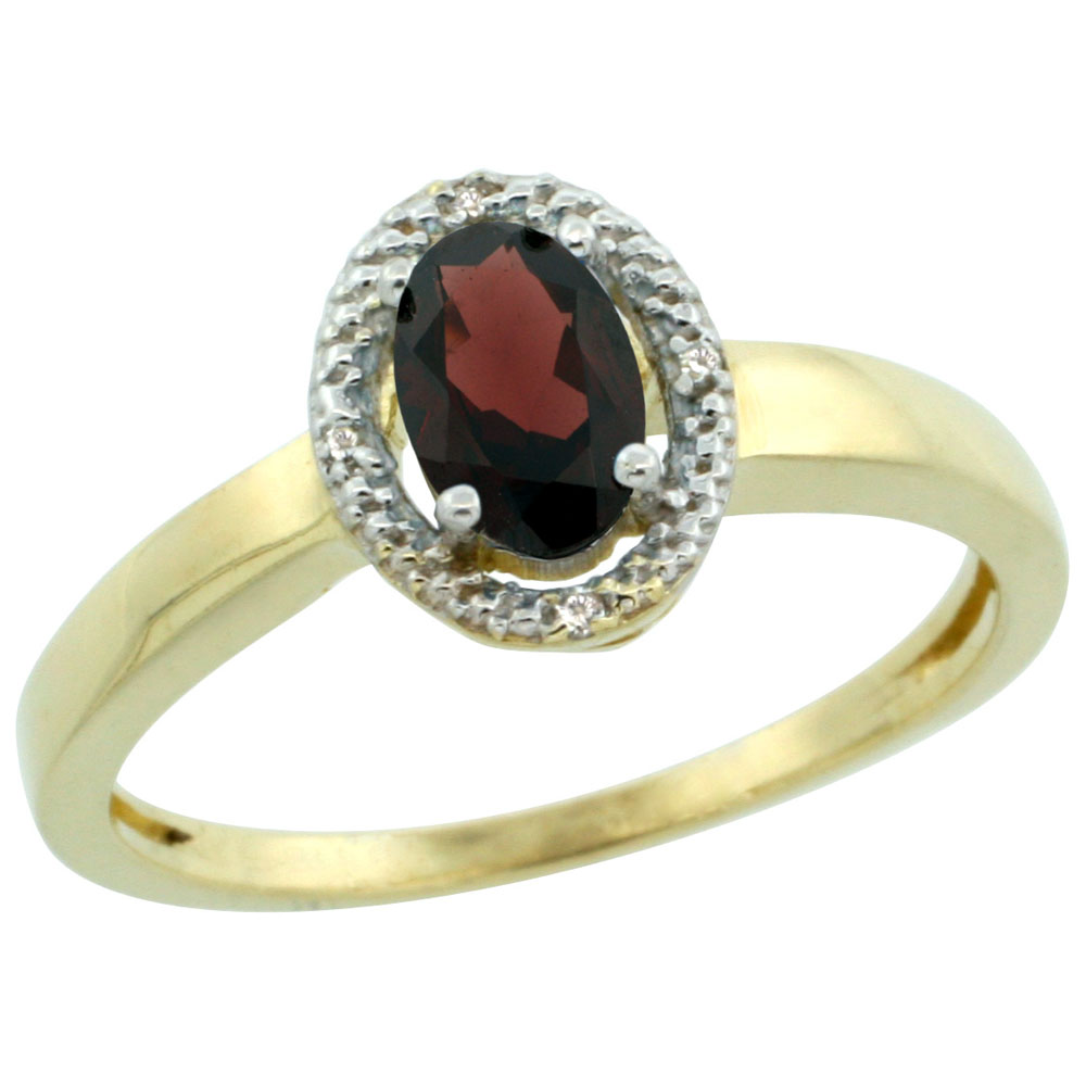 14K Yellow Gold Diamond Halo Natural Garnet Engagement Ring Oval 6X4 mm, sizes 5-10