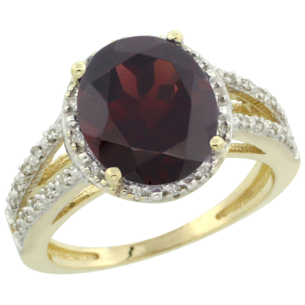 10K Yellow Gold Diamond Natural Garnet Ring Oval 11x9mm, sizes 5-10