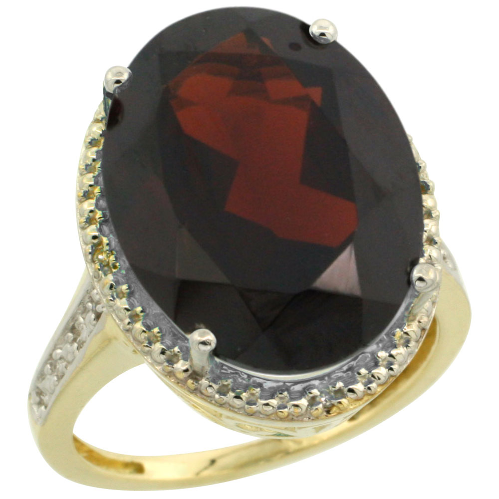 10K Yellow Gold Diamond Natural Garnet Ring Oval 18x13mm, sizes 5-10