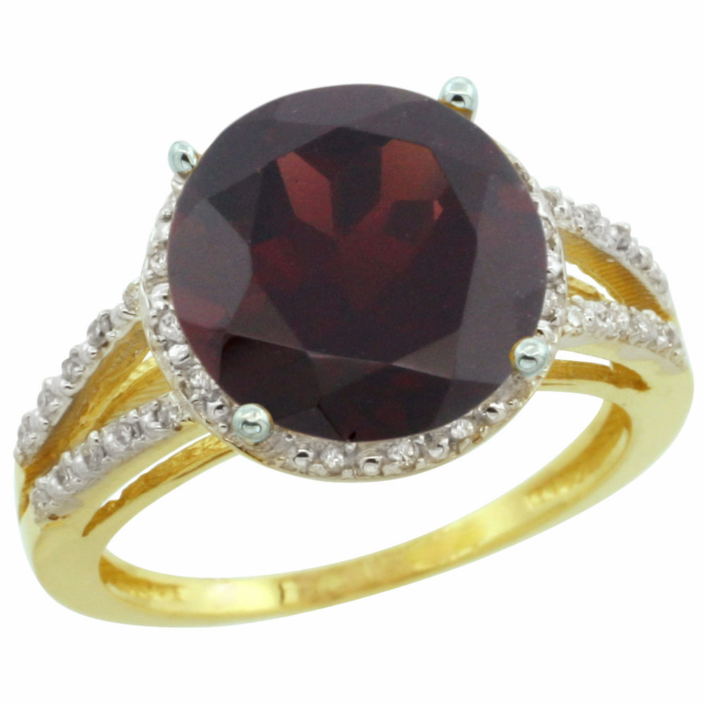 14K Yellow Gold Diamond Natural Garnet Ring Round 11mm, sizes 5-10