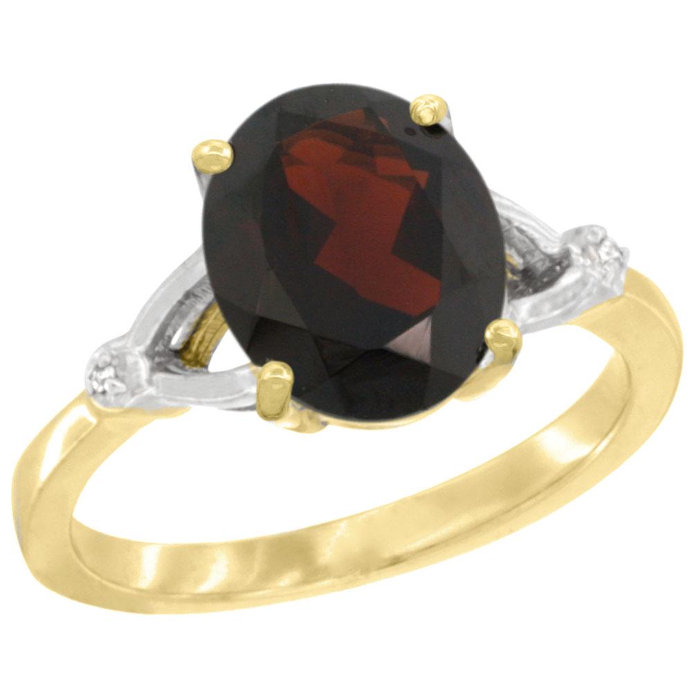 14K Yellow Gold Diamond Natural Garnet Engagement Ring Oval 10x8mm, sizes 5-10