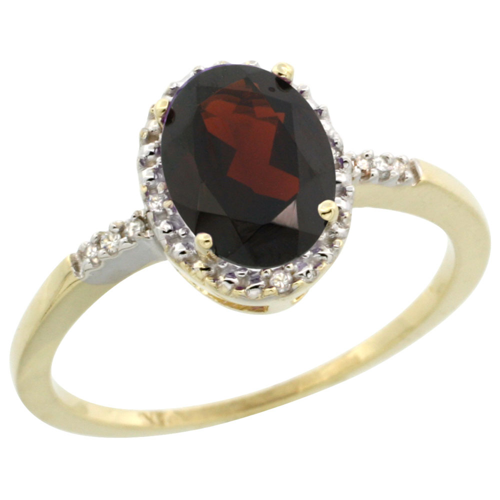14K Yellow Gold Diamond Natural Garnet Ring Oval 8x6mm, sizes 5-10