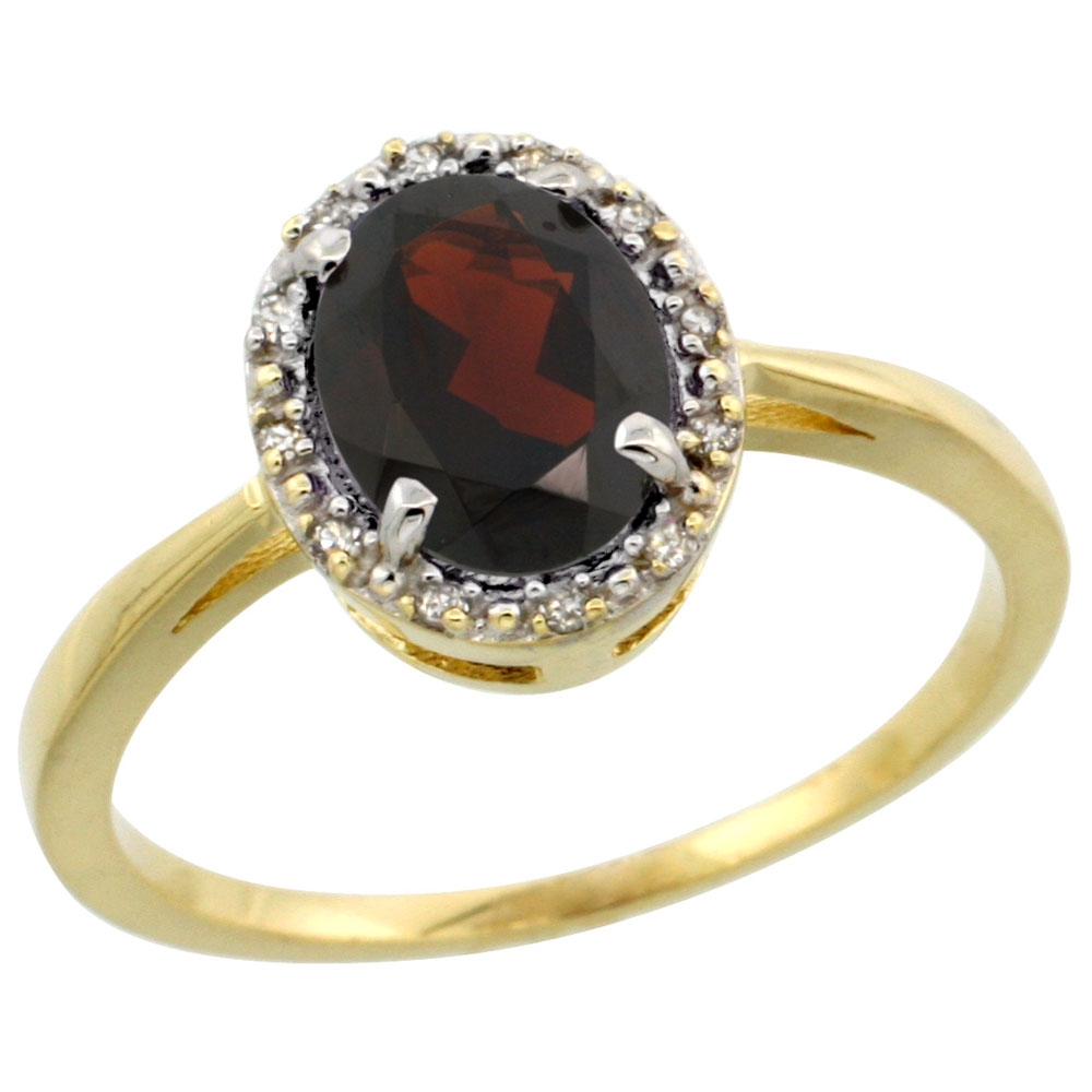 10k Yellow Gold Natural Garnet Ring Oval 8x6 mm Diamond Halo, sizes 5-10
