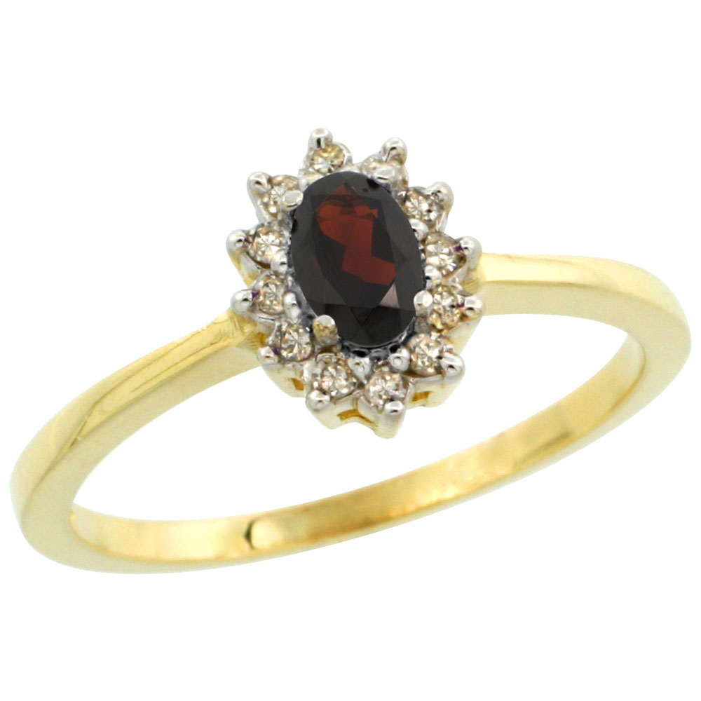 10k Yellow Gold Natural Garnet Ring Oval 5x3mm Diamond Halo, sizes 5-10