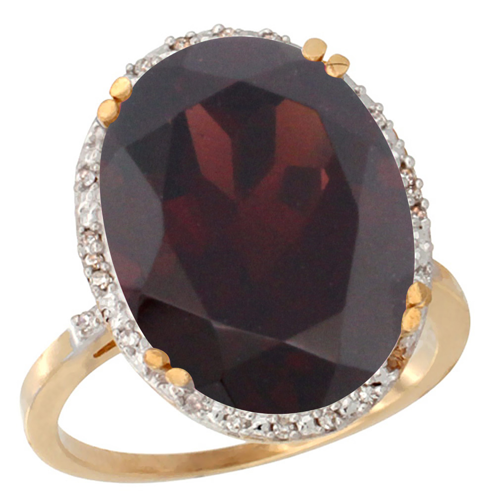 10k Yellow Gold Natural Garnet Ring Large Oval 18x13mm Diamond Halo, sizes 5-10