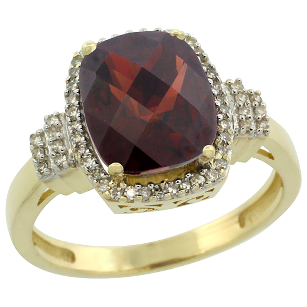 10k Yellow Gold Natural Garnet Ring Cushion-cut 9x7mm Diamond Halo, sizes 5-10