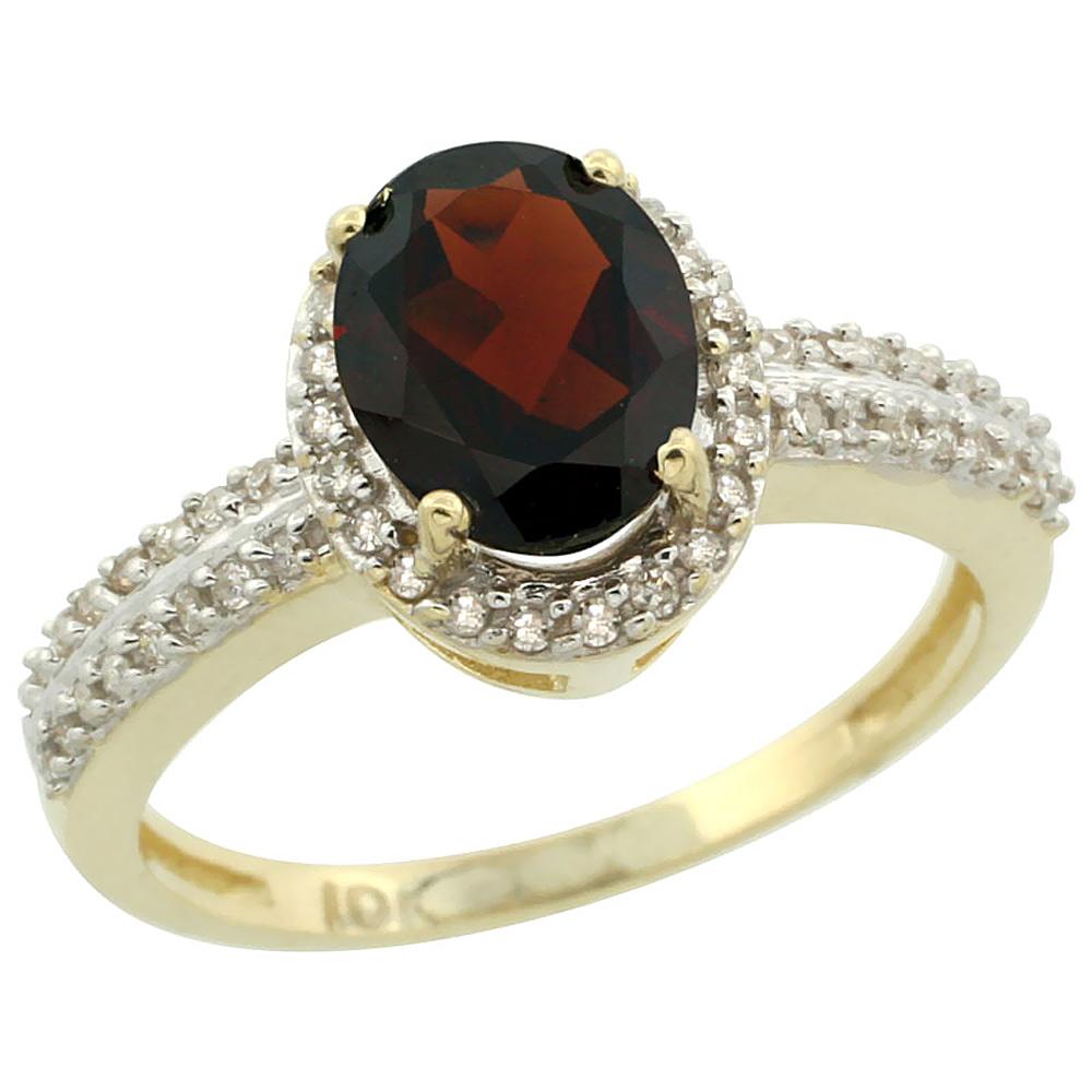 14K Yellow Gold Natural Garnet Ring Oval 8x6mm Diamond Halo, sizes 5-10