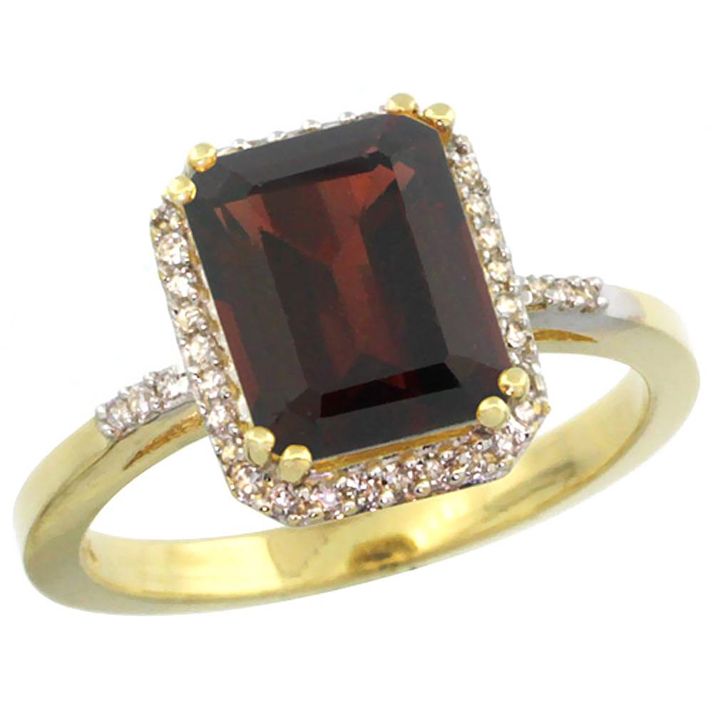 14K Yellow Gold Diamond Natural Garnet Ring Emerald-cut 9x7mm, sizes 5-10