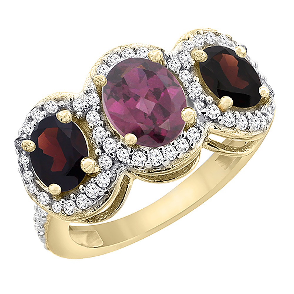 14K Yellow Gold Natural Rhodolite & Garnet 3-Stone Ring Oval Diamond Accent, sizes 5 - 10