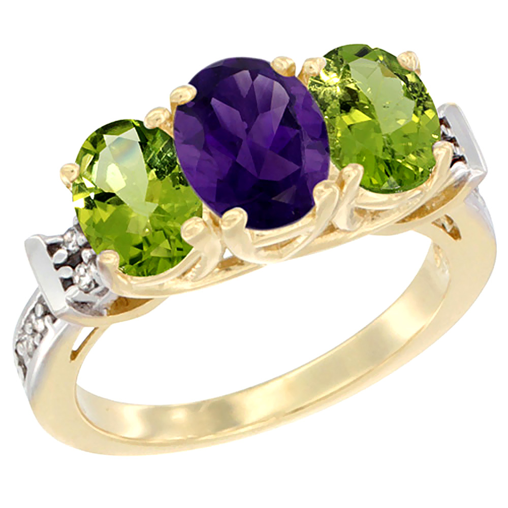 10K Yellow Gold Natural Amethyst & Peridot Sides Ring 3-Stone Oval Diamond Accent, sizes 5 - 10