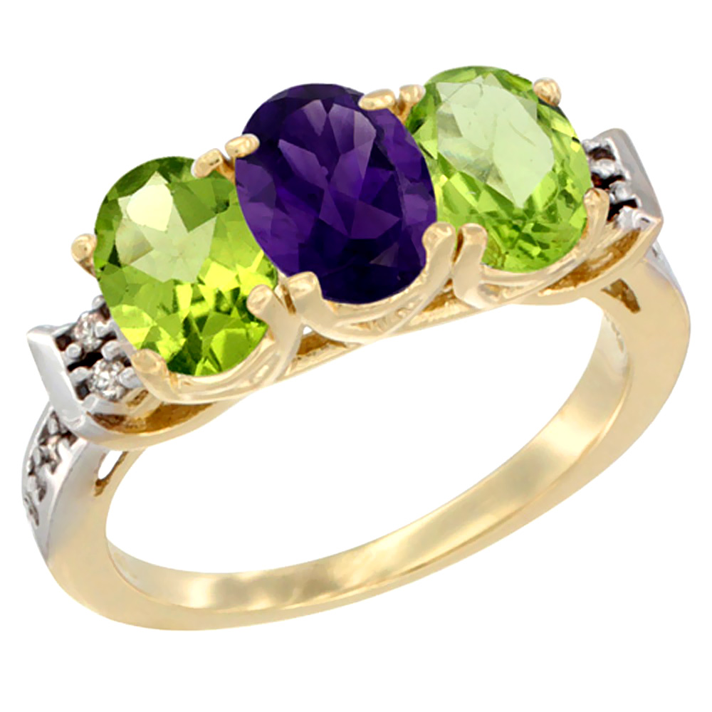 10K Yellow Gold Natural Amethyst & Peridot Sides Ring 3-Stone Oval 7x5 mm Diamond Accent, sizes 5 - 10