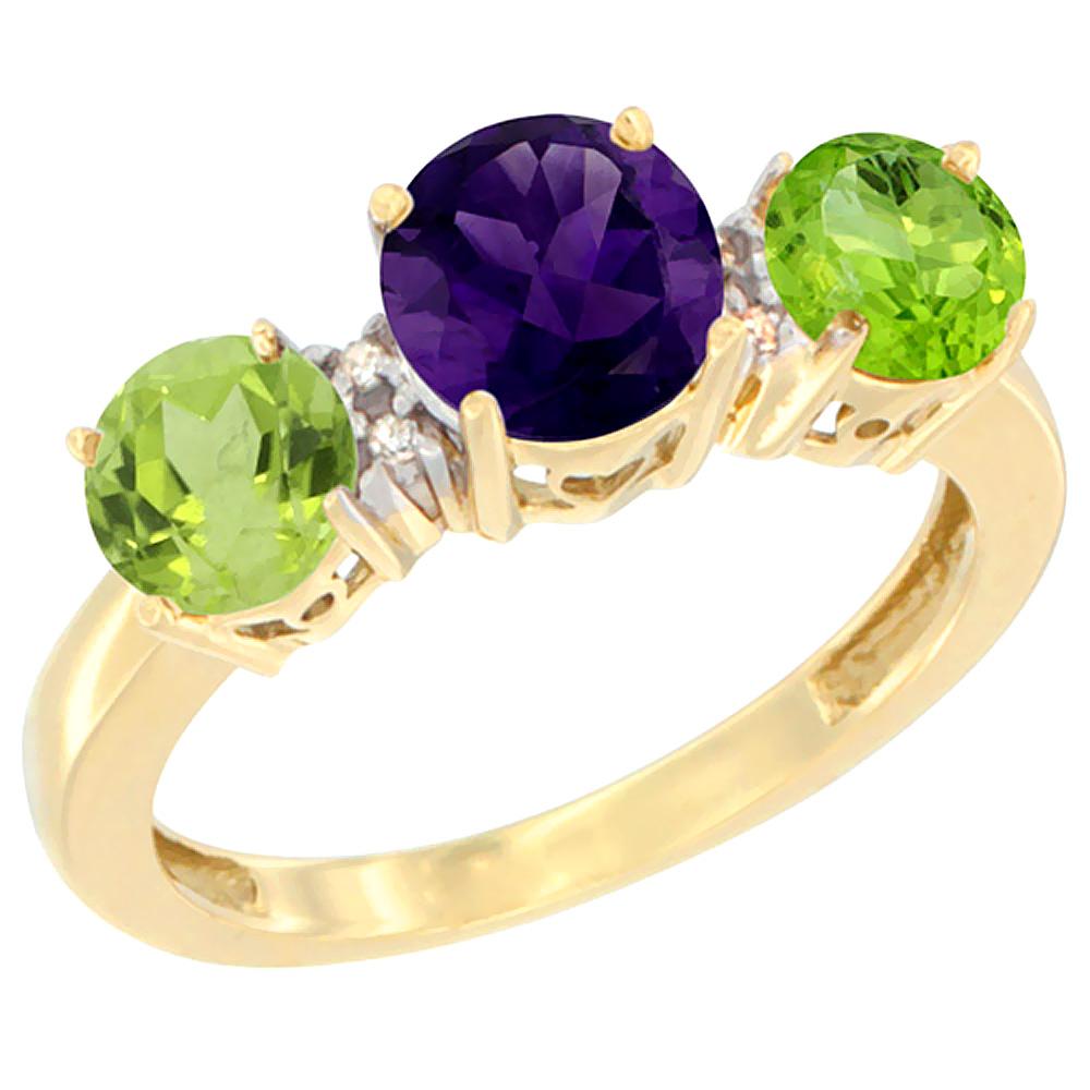 10K Yellow Gold Round 3-Stone Natural Amethyst Ring & Peridot Sides Diamond Accent, sizes 5 - 10