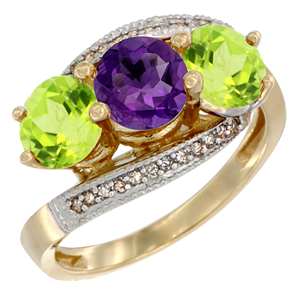 10K Yellow Gold Natural Amethyst & Peridot Sides 3 stone Ring Round 6mm Diamond Accent, sizes 5 - 10