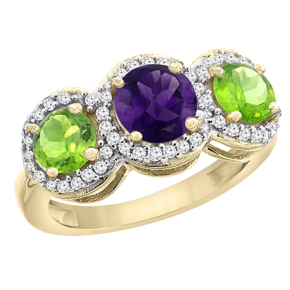 10K Yellow Gold Natural Amethyst & Peridot Sides Round 3-stone Ring Diamond Accents, sizes 5 - 10