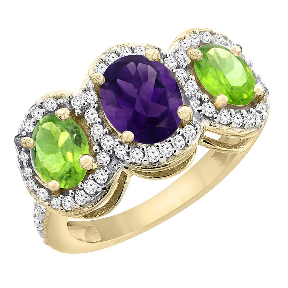 10K Yellow Gold Natural Amethyst & Peridot 3-Stone Ring Oval Diamond Accent, sizes 5 - 10