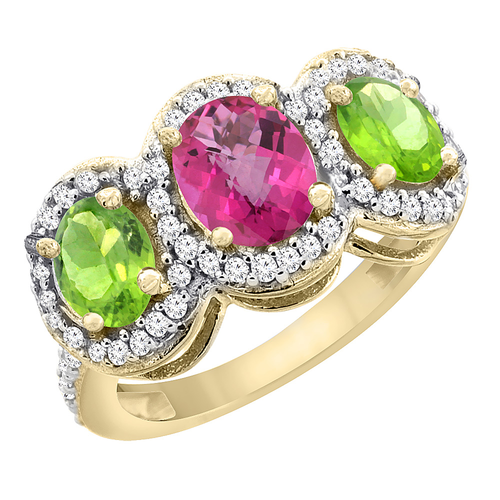 10K Yellow Gold Natural Pink Topaz & Peridot 3-Stone Ring Oval Diamond Accent, sizes 5 - 10