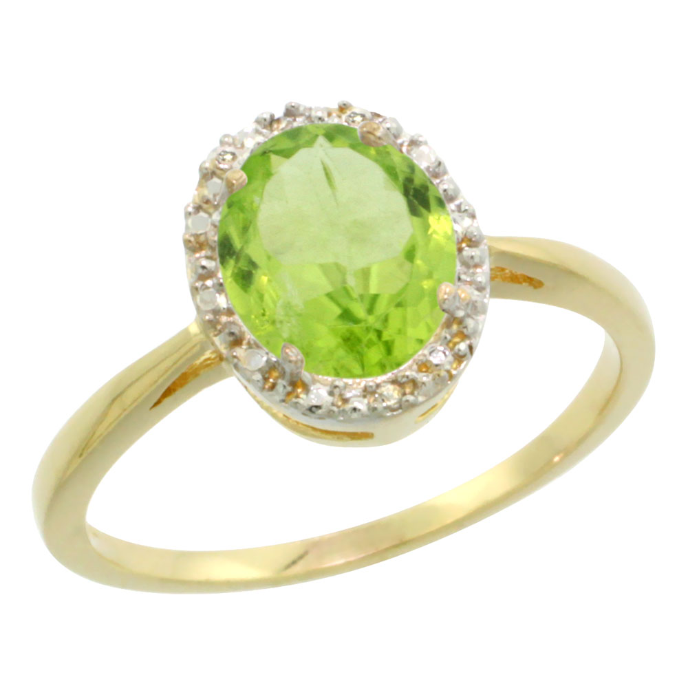 10K Yellow Gold Natural Peridot Diamond Halo Ring Oval 8X6mm, sizes 5-10