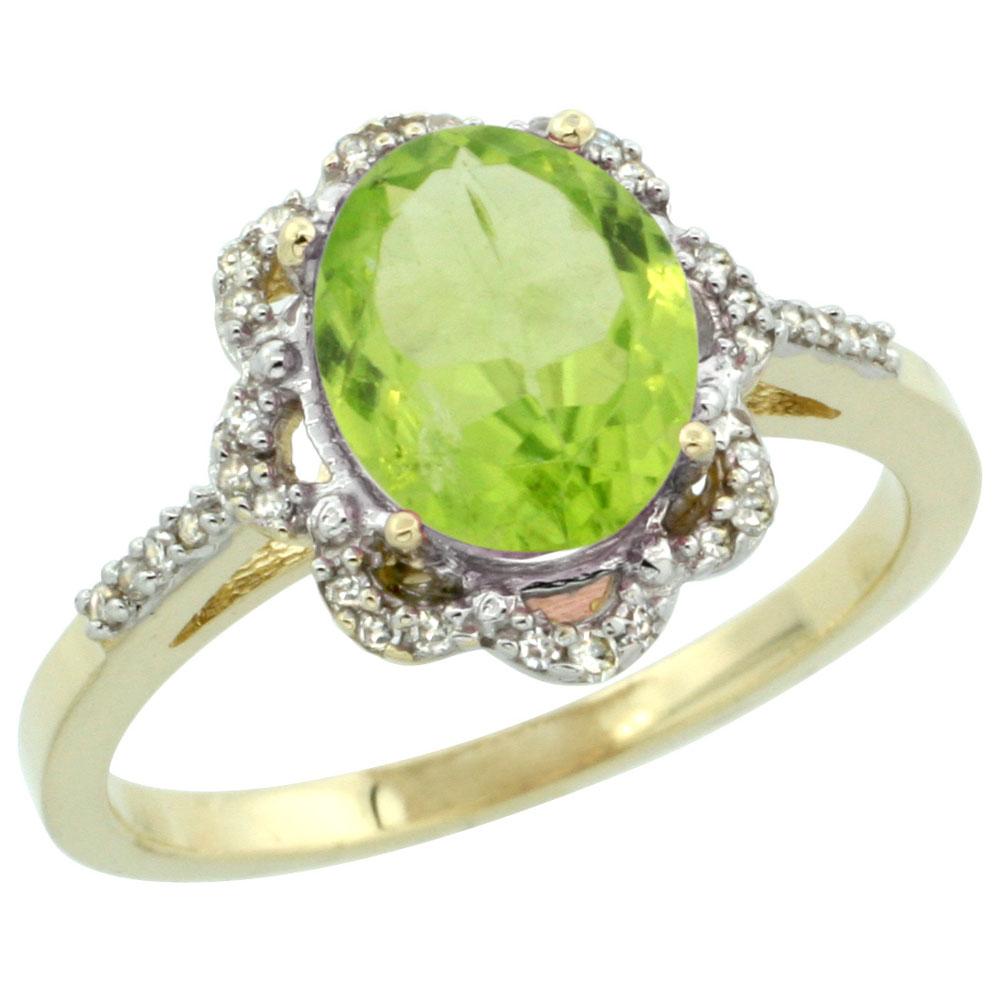 14K Yellow Gold Diamond Halo Natural Peridot Engagement Ring Oval 9x7mm, sizes 5-10