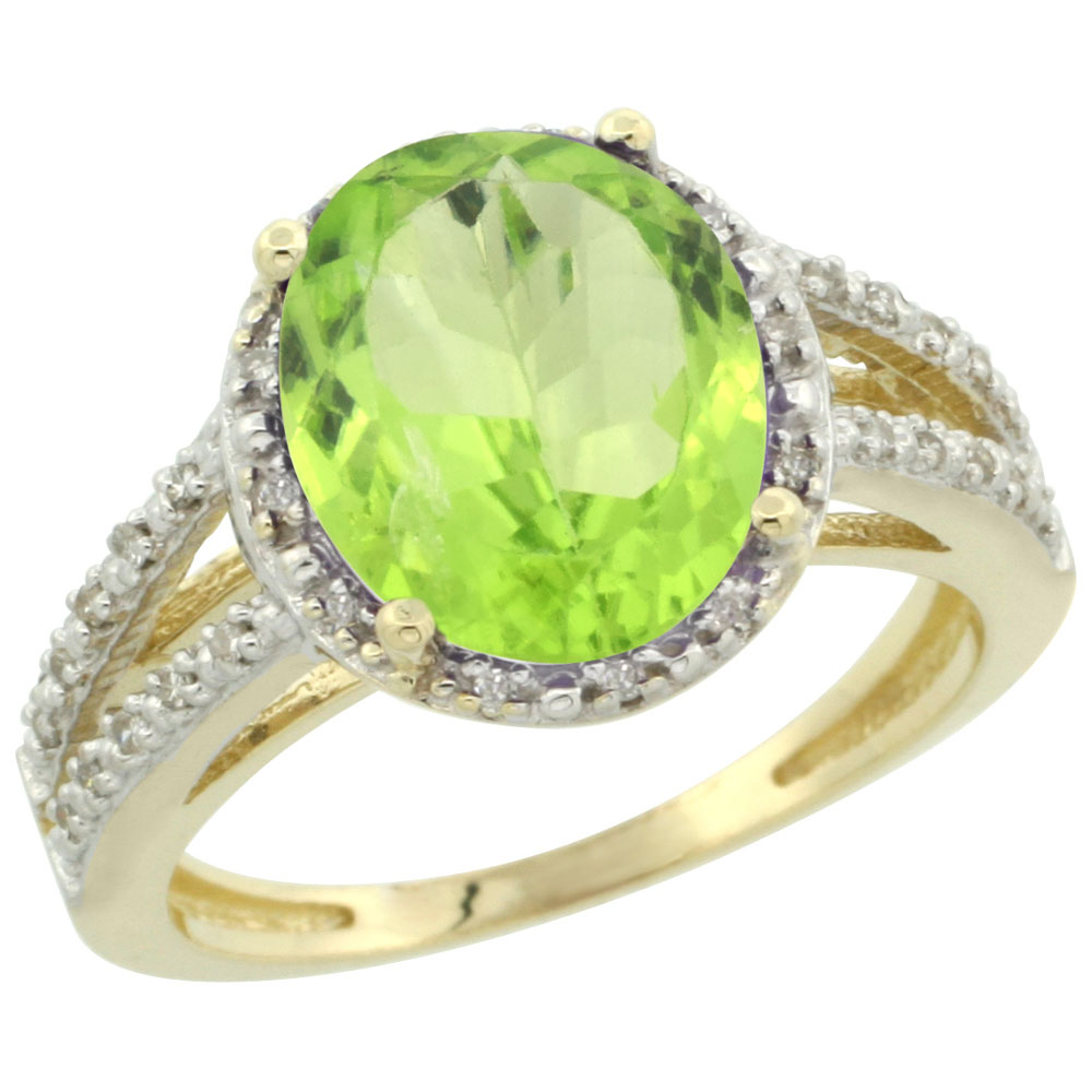 10K Yellow Gold Diamond Natural Peridot Ring Oval 11x9mm, sizes 5-10