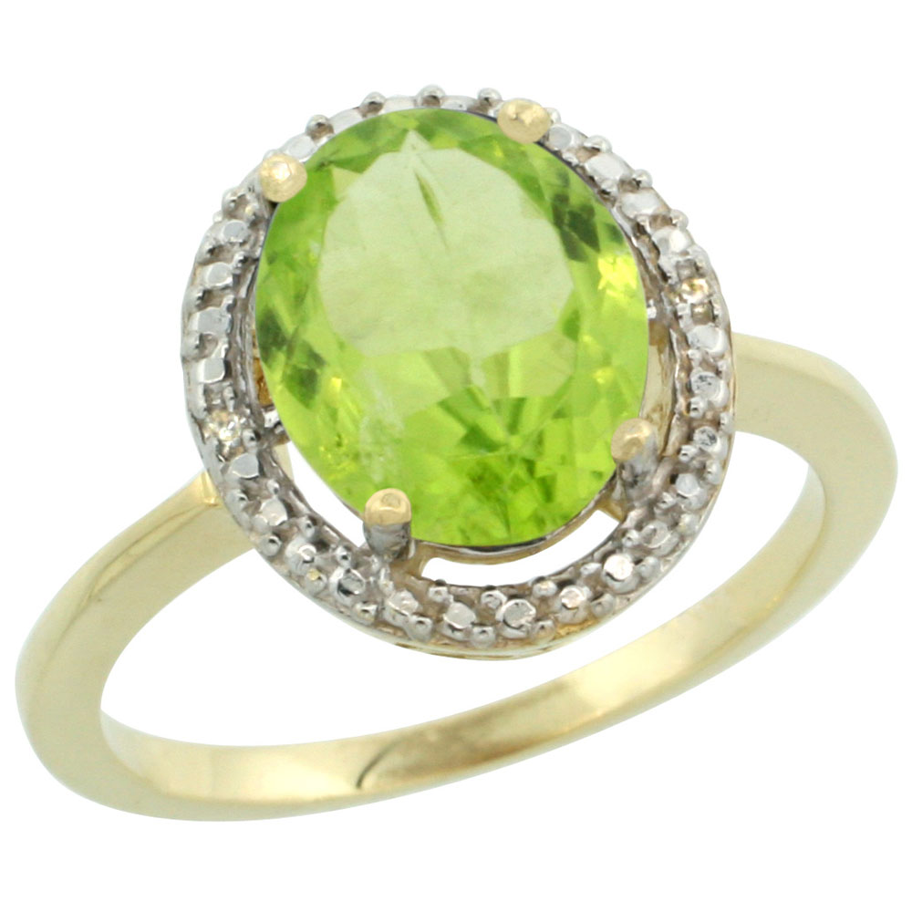 10K Yellow Gold Diamond Natural Peridot Engagement Ring Oval 10x8mm, sizes 5-10