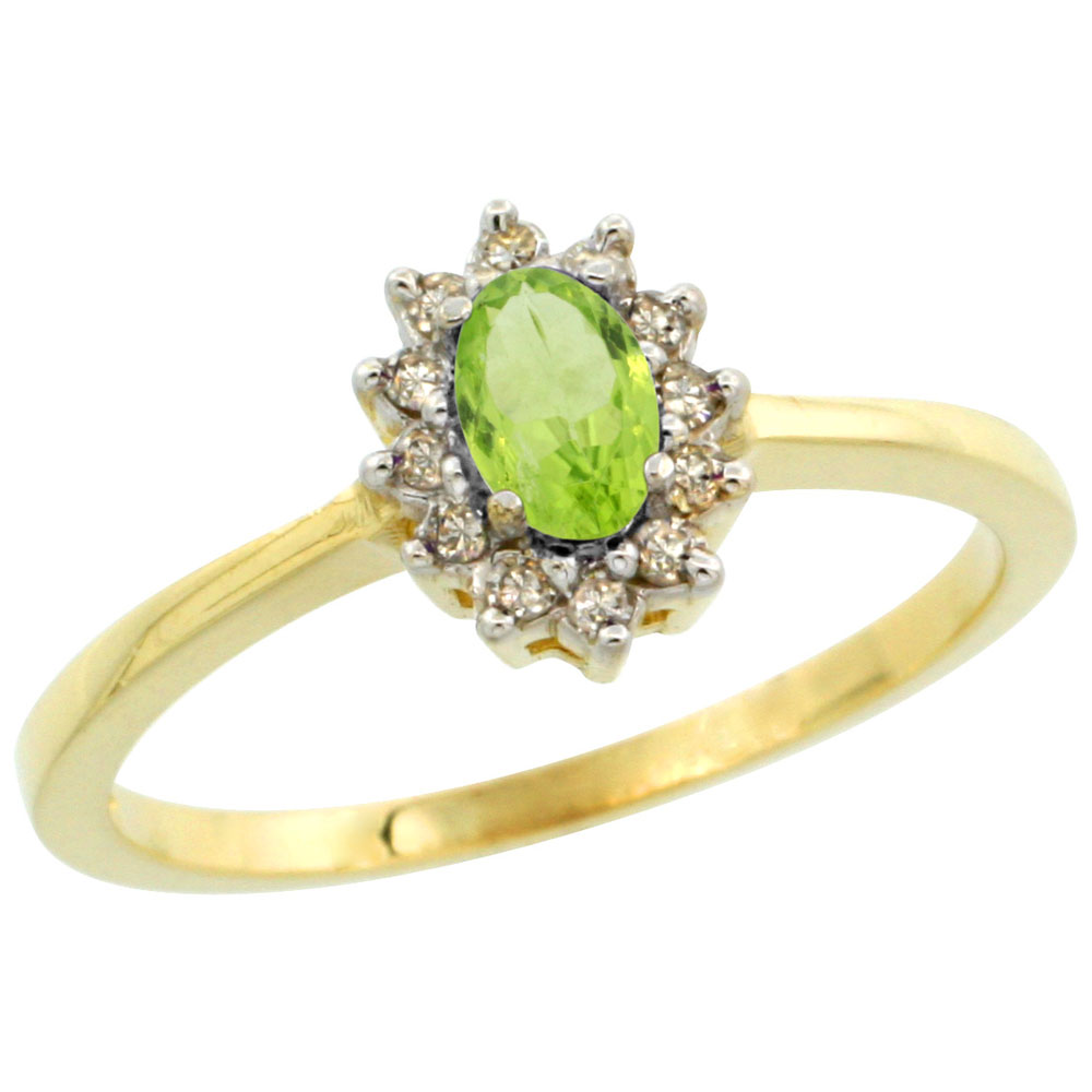 10k Yellow Gold Natural Peridot Ring Oval 5x3mm Diamond Halo, sizes 5-10