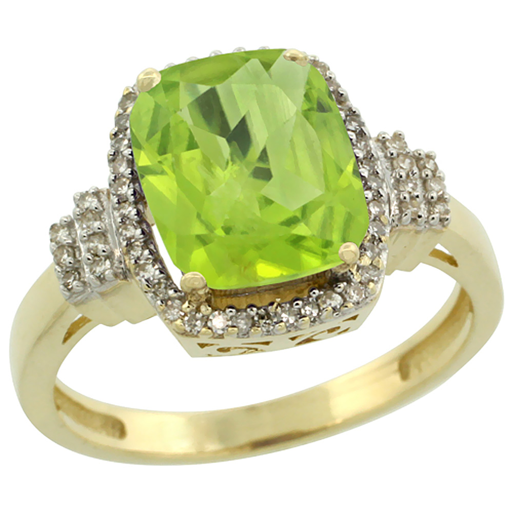 10k Yellow Gold Natural Peridot Ring Cushion-cut 9x7mm Diamond Halo, sizes 5-10