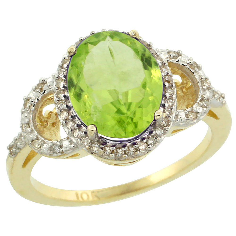 14K Yellow Gold Diamond Natural Peridot Engagement Ring Oval 10x8mm, sizes 5-10