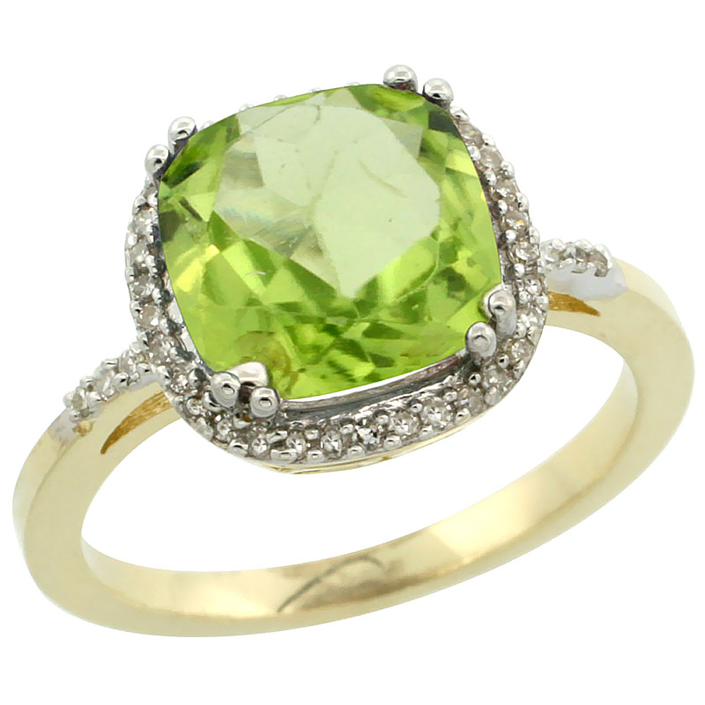 10K Yellow Gold Diamond Natural Peridot Ring Cushion-cut 9x9mm, sizes 5-10
