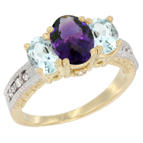 10K Yellow Gold Diamond Natural Amethyst Ring Oval 3-stone with Aquamarine, sizes 5 - 10