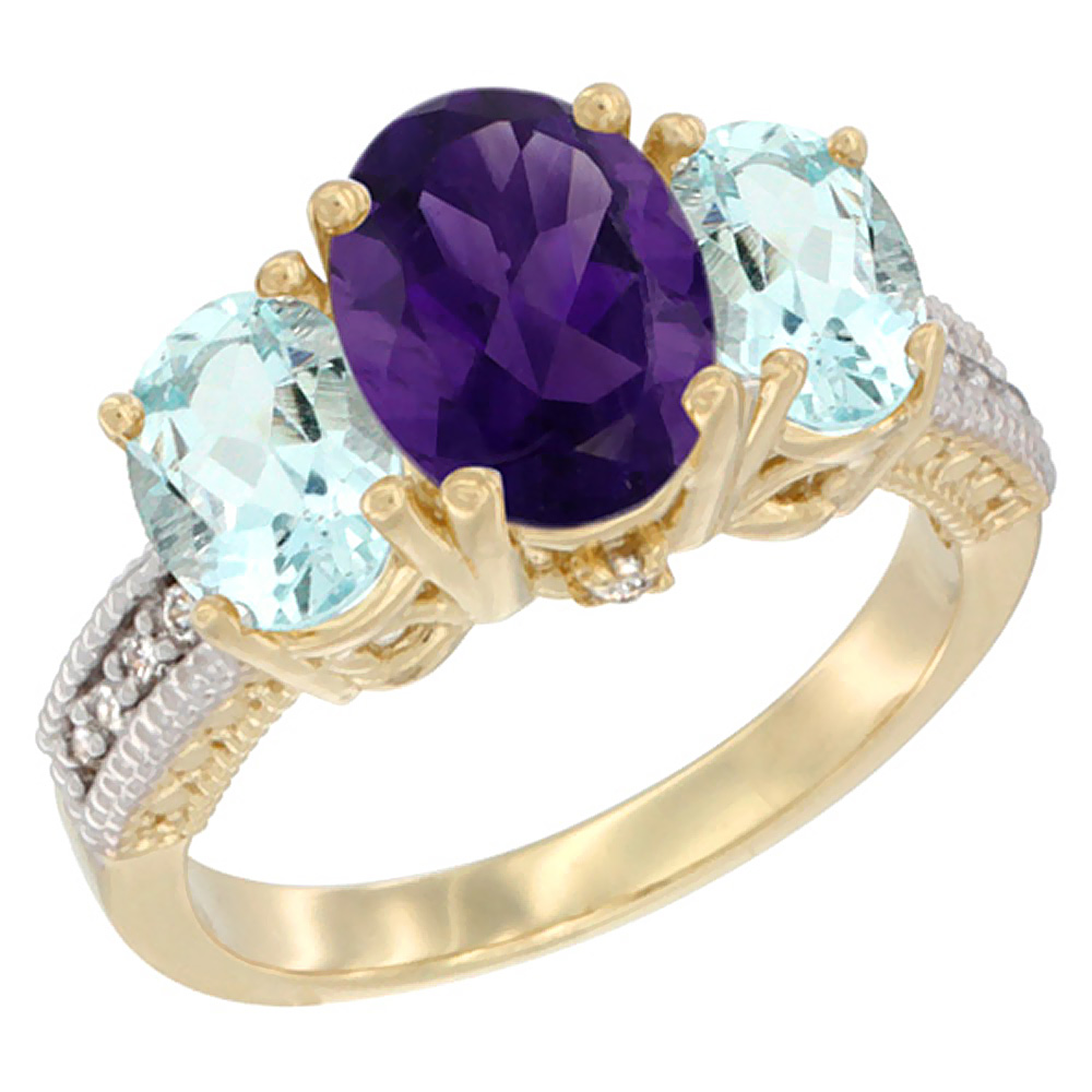 10K Yellow Gold Diamond Natural Amethyst Ring 3-Stone Oval 8x6mm with Aquamarine, sizes5-10