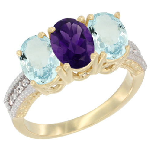 10K Yellow Gold Natural Amethyst & Aquamarine Ring 3-Stone Oval 7x5 mm, sizes 5 - 10