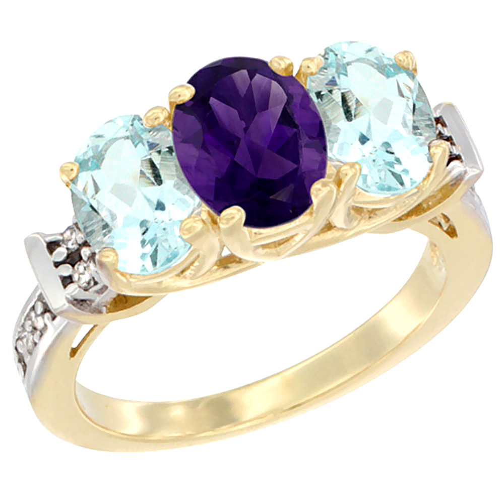 10K Yellow Gold Natural Amethyst & Aquamarine Sides Ring 3-Stone Oval Diamond Accent, sizes 5 - 10
