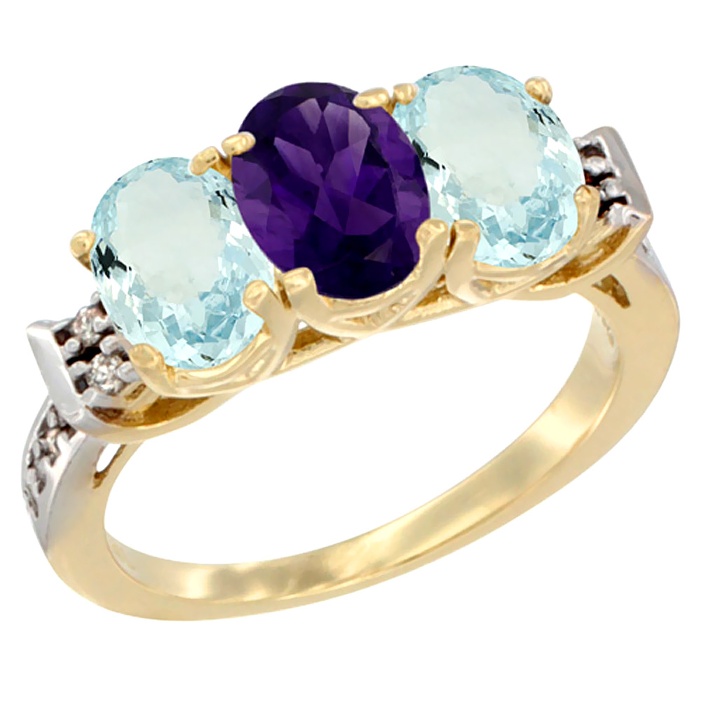 10K Yellow Gold Natural Amethyst & Aquamarine Sides Ring 3-Stone Oval 7x5 mm Diamond Accent, sizes 5 - 10