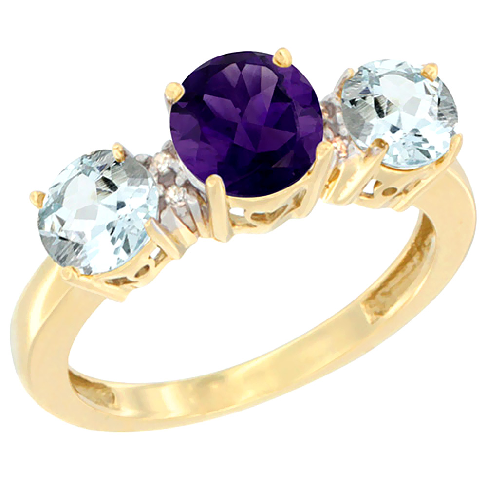 10K Yellow Gold Round 3-Stone Natural Amethyst Ring & Aquamarine Sides Diamond Accent, sizes 5 - 10