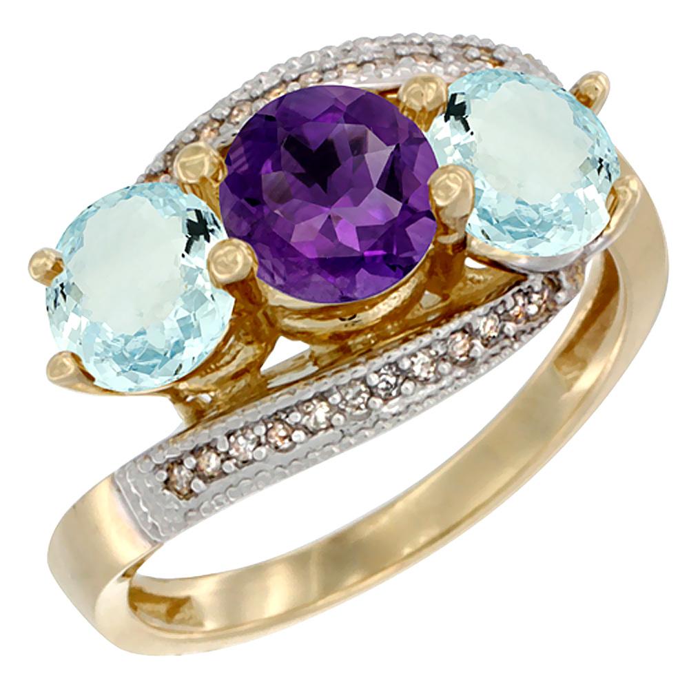10K Yellow Gold Natural Amethyst & Aquamarine Sides 3 stone Ring Round 6mm Diamond Accent, sizes 5 - 10