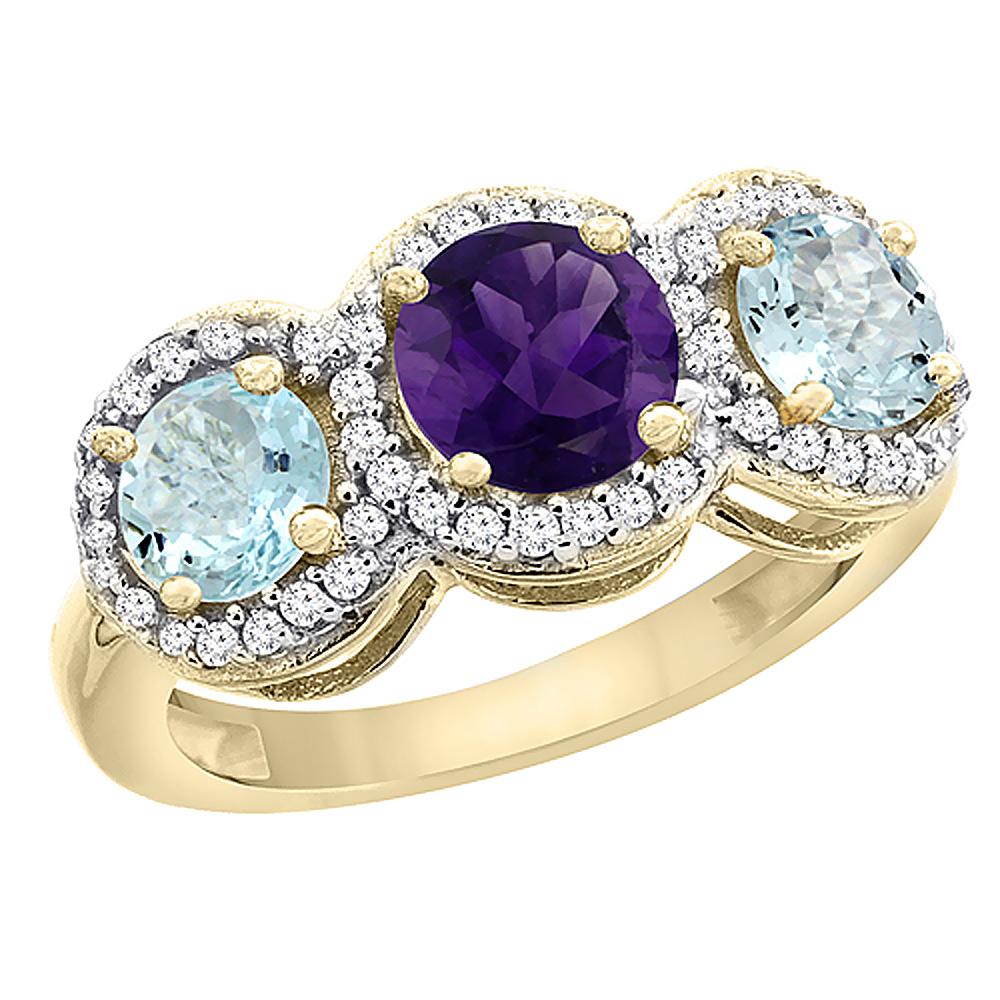 10K Yellow Gold Natural Amethyst & Aquamarine Sides Round 3-stone Ring Diamond Accents, sizes 5 - 10