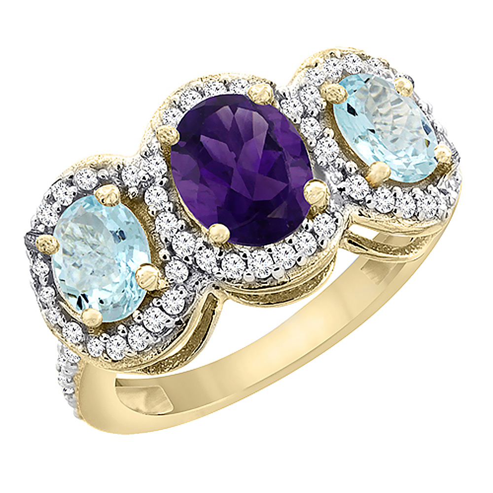 10K Yellow Gold Natural Amethyst & Aquamarine 3-Stone Ring Oval Diamond Accent, sizes 5 - 10