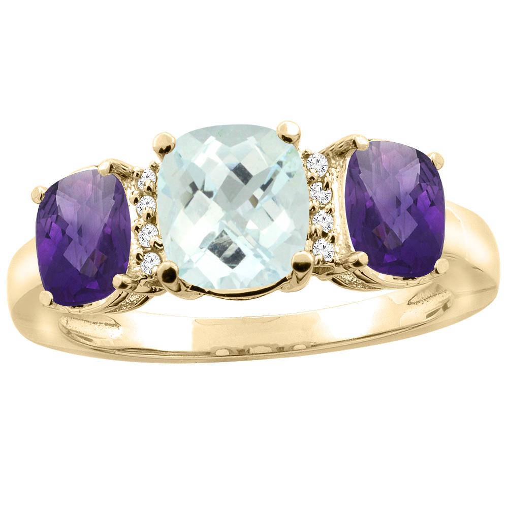 10K Yellow Gold Natural Aquamarine & Amethyst 3-stone Ring Cushion 8x6mm Diamond Accent, sizes 5 - 10