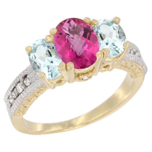 10K Yellow Gold Diamond Natural Pink Topaz Ring Oval 3-stone with Aquamarine, sizes 5 - 10