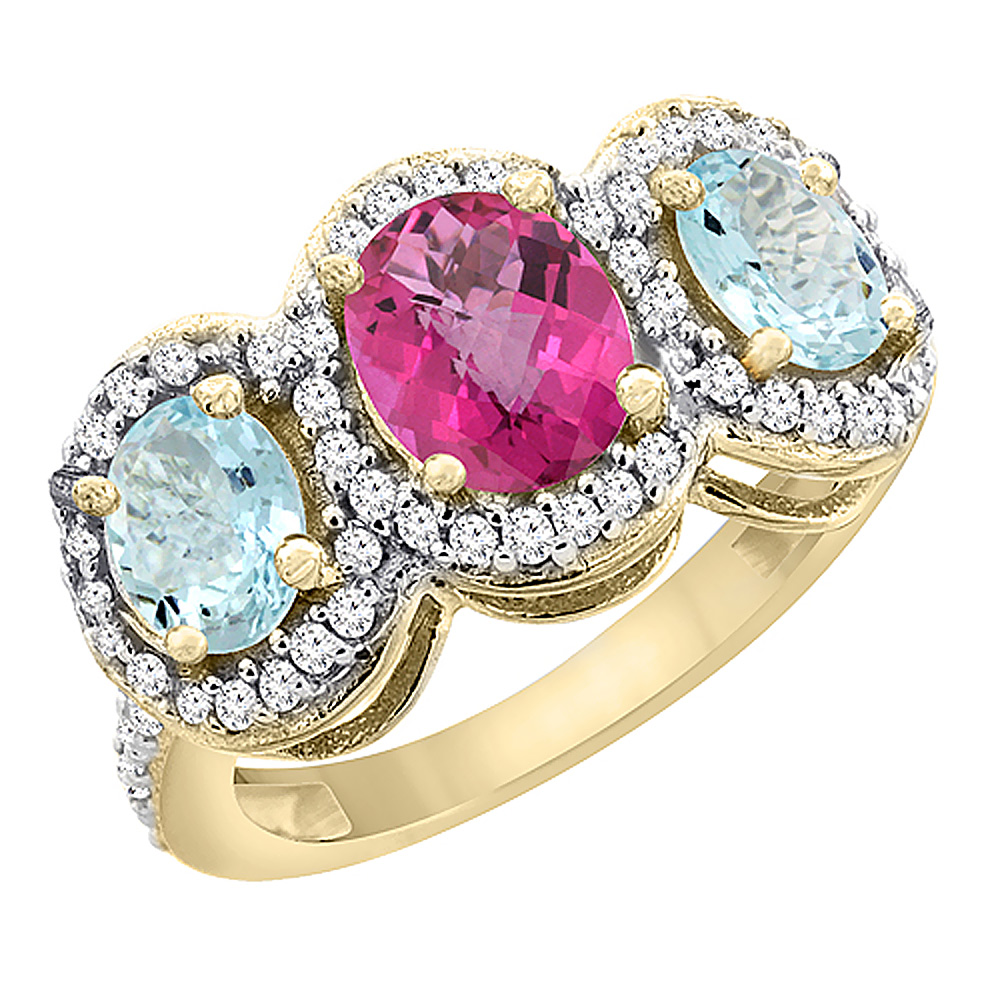 10K Yellow Gold Natural Pink Topaz & Aquamarine 3-Stone Ring Oval Diamond Accent, sizes 5 - 10